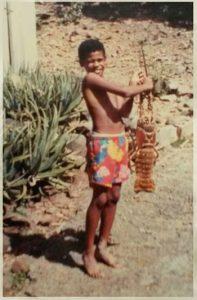 Cleve Mahabir holding a 10 lb Caribbean lobster