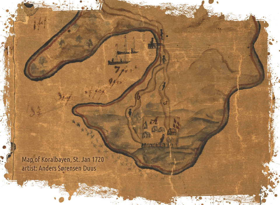 Fortsberg, Coral Bay, St. Jan map detail 1720